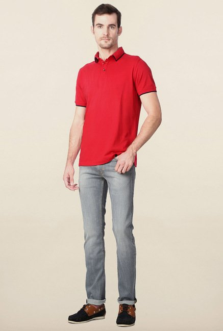 Peter England Red Solid Polo T-Shirt