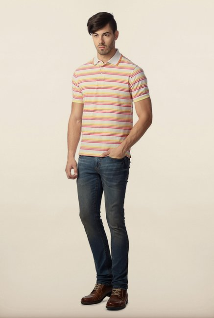 Peter England White Polo Striped T-Shirt