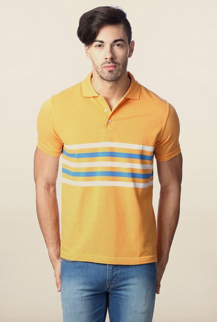 Peter England Mustard Solid Polo T-Shirt