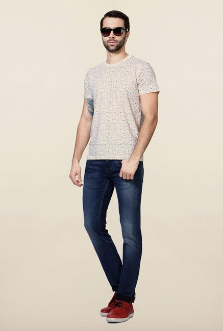 Allen Solly Cream Printed T-Shirt