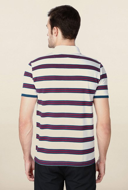 Peter England White Striped Polo T-Shirt