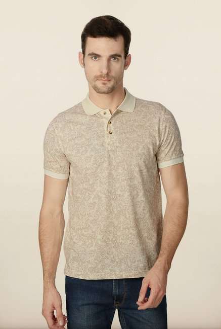 Peter England Cream Paisley Printed Polo T-Shirt