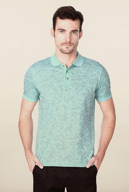 Peter England Blue Paisley Printed Polo T-Shirt