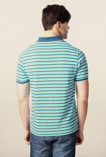 Peter England Blue & Navy Striped Polo T-Shirt