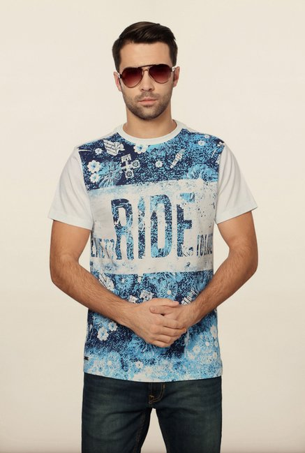 Peter England Blue & White Graphic Print T-Shirt