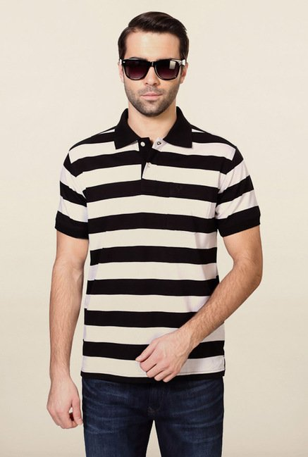 Allen Solly Black & White Striped Polo T-Shirt