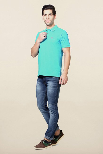 Allen Solly Aqua Blue Solid Polo T-Shirt
