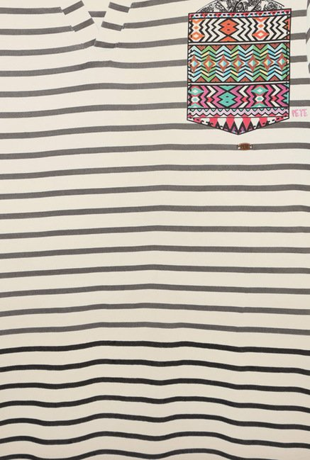 Peter England White Striped T-Shirt