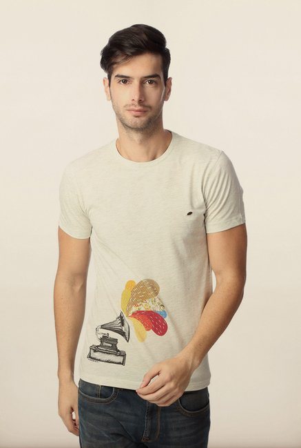Peter England Cream Graphic Printed T-Shirt