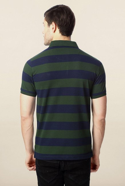 Peter England Green & Blue Striped Polo T-Shirt