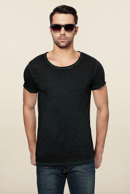 Peter England Dark Green Solid T-Shirt