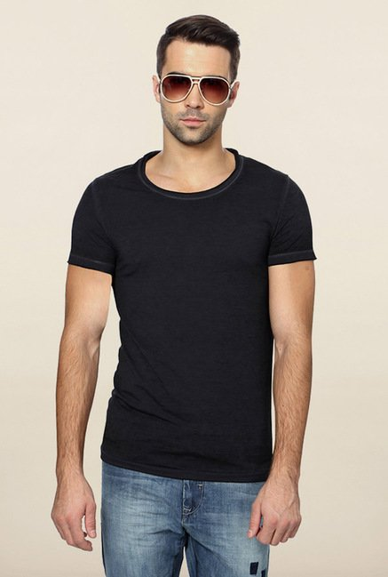 Peter England Navy Solid T-Shirt
