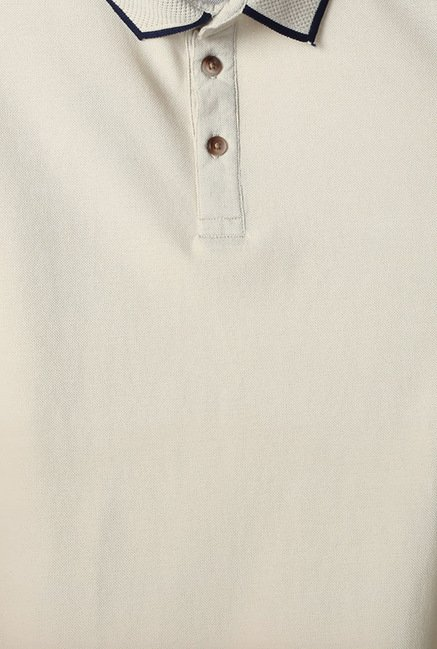 Peter England Beige Solid Polo T-Shirt