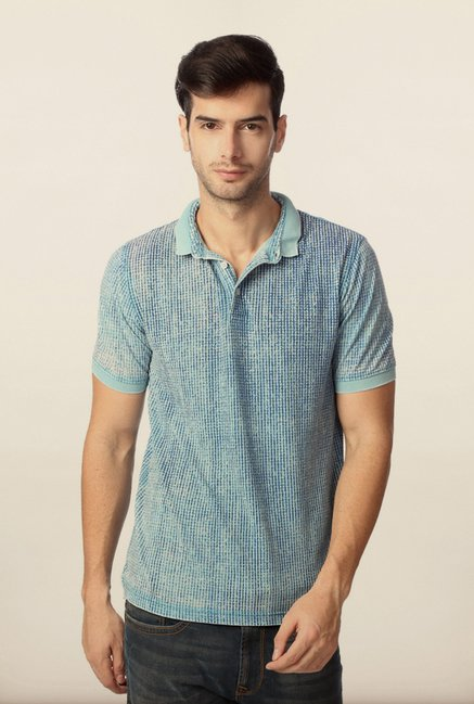 Peter England Blue Checks Polo T-Shirt