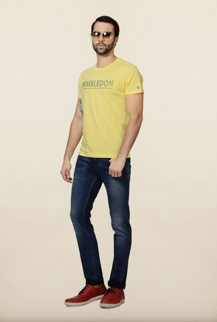 Allen Solly Yellow Wimbledon Printed T-Shirt