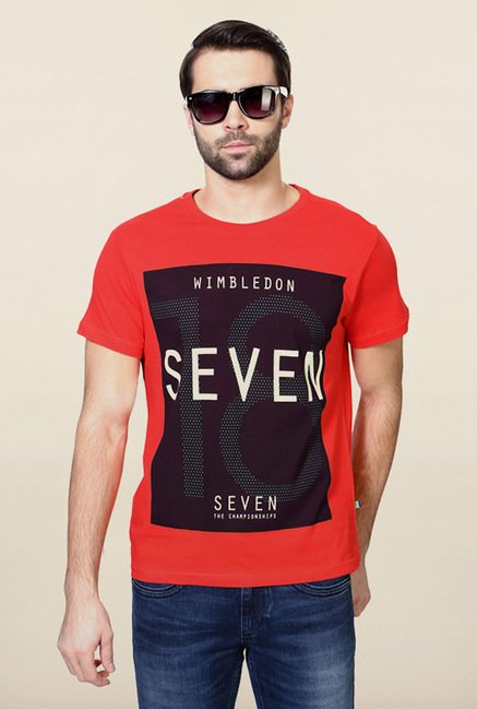Allen Solly Red Printed T-Shirt