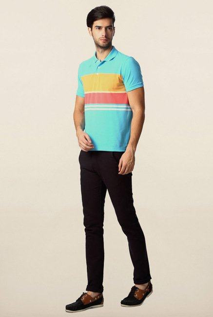 Peter England Light Blue Polo T-Shirt