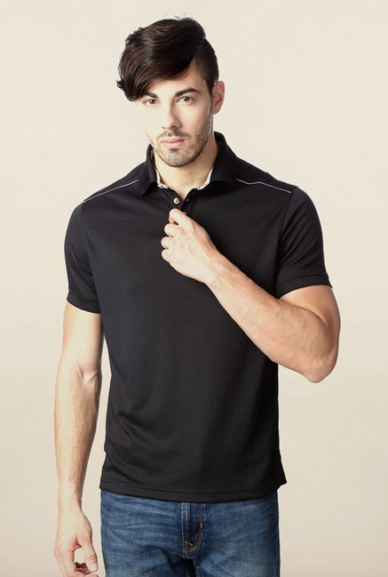 Peter England Black Solid Polo T-Shirt