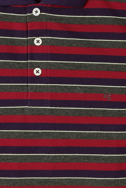 Peter England Maroon Striped Polo T-Shirt