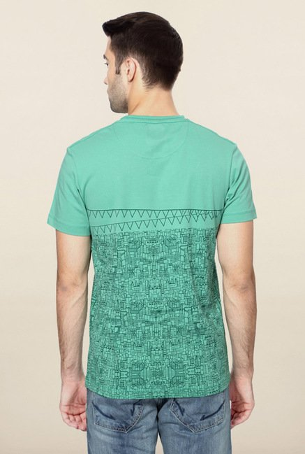 Peter England Green Graphic Printed T-Shirt