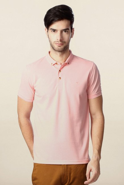 Peter England Pink Solid Polo T-Shirt