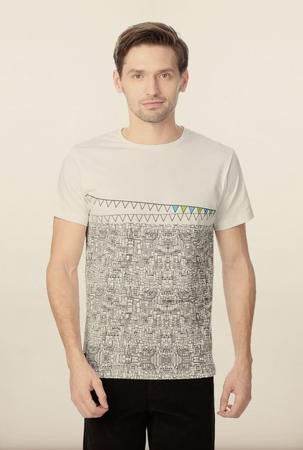 Peter England White Graphic Printed T-Shirt