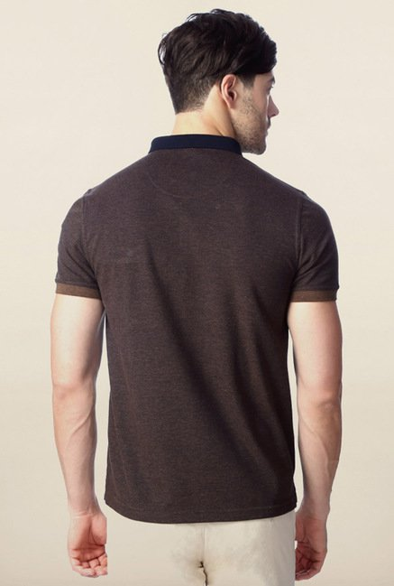 Peter England Brown Solid Polo T-Shirt