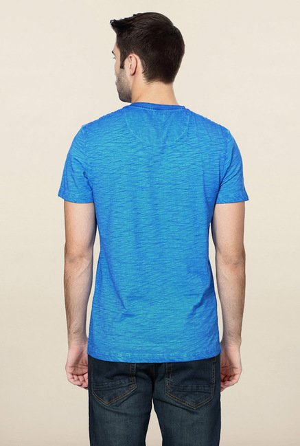 Peter England Blue Graphic Printed T-Shirt