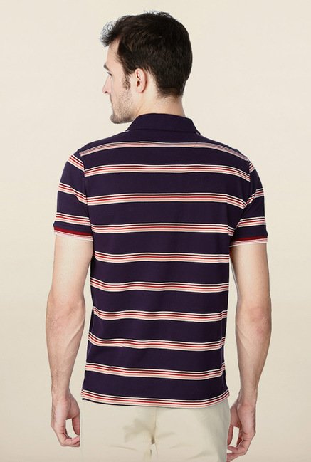 Peter England Purple Striped Polo T-Shirt
