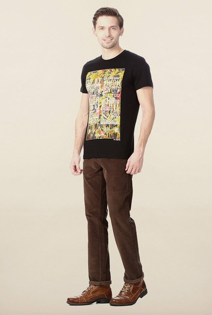 Peter England Black Graphic Printed T-Shirt