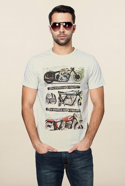 Peter England Light Grey Graphic Printed T-Shirt