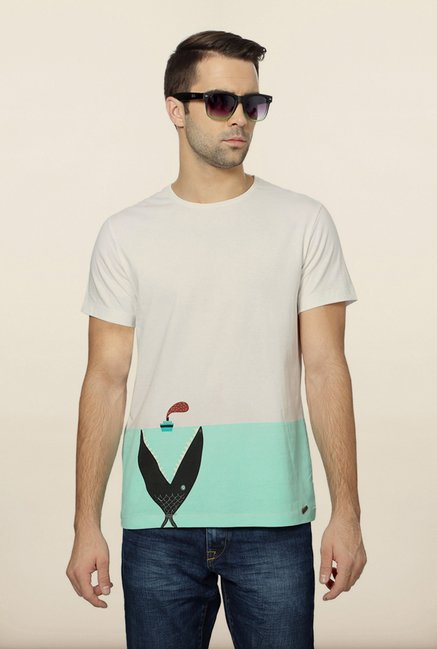 Peter England White Printed T-Shirt