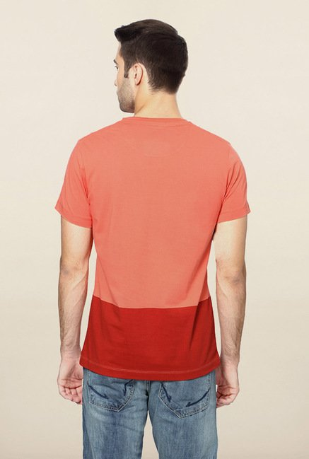 Peter England Peach Printed T-Shirt
