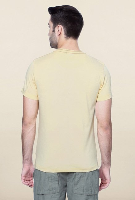 Peter England Yellow Graphic Printed T-Shirt