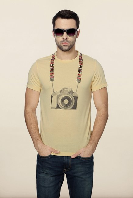Peter England Beige Printed T-Shirt