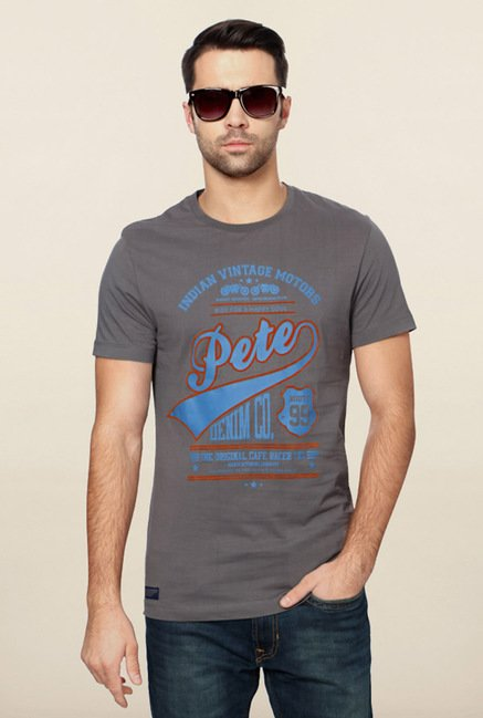 Peter England Grey Printed T-Shirt
