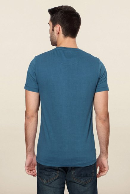 Peter England Blue Printed T-Shirt