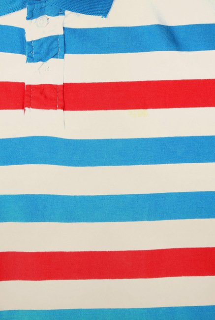 Peter England Blue & Red Striped Polo T-Shirt