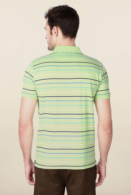 Peter England Mint Green Striped Polo T-Shirt