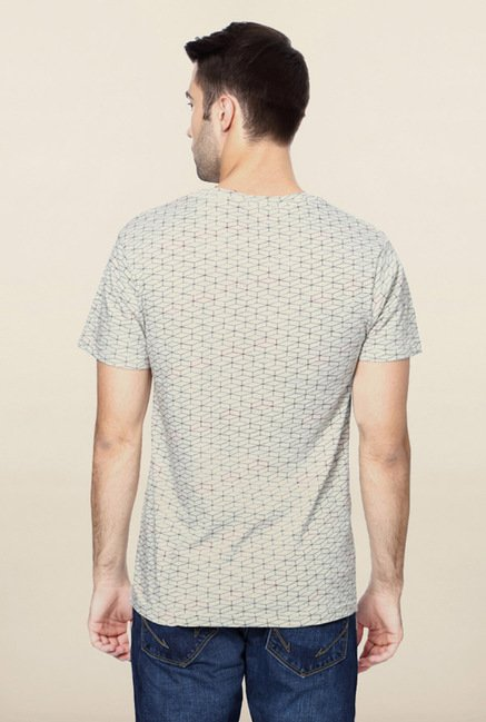 Peter England Grey Geometric Print V Neck T-Shirt