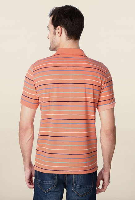 Peter England Peach Striped Polo T-Shirt