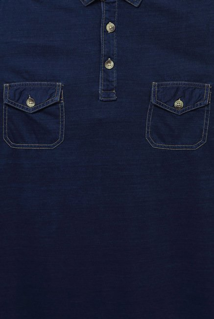 Peter England Indigo Solid Polo T-Shirt