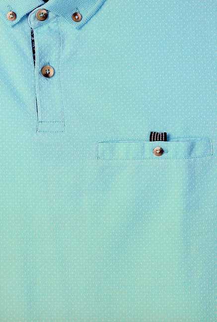 Peter England Light Blue Solid Polo T-Shirt