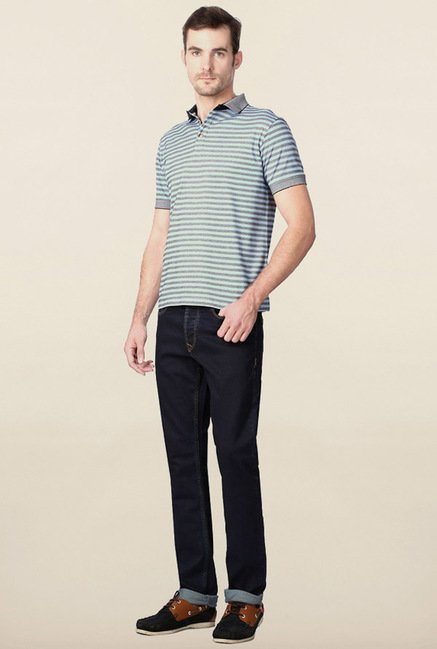 Peter England Grey & Blue Striped Polo T-Shirt