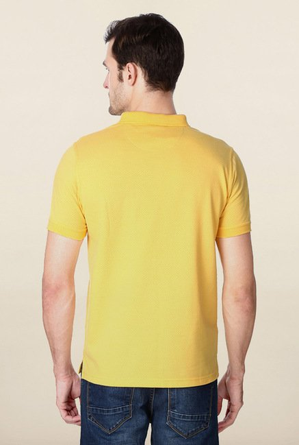 Peter England Yellow Solid Polo T-Shirt