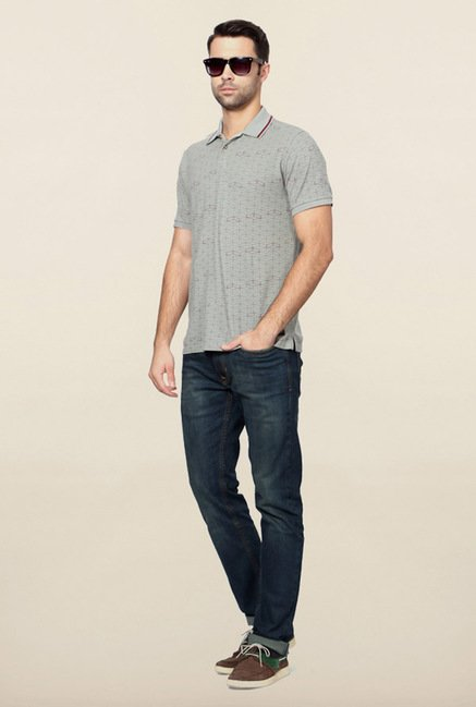 Peter England Grey Geometric Print Polo T-Shirt