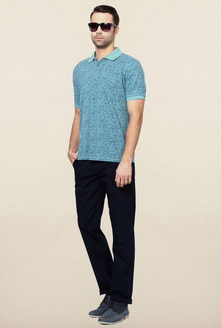 Peter England Blue Printed Polo T-Shirt