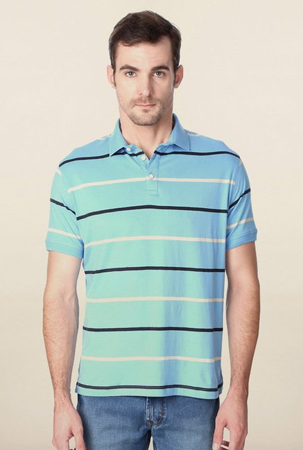 Peter England Light Blue Striped Polo T-Shirt