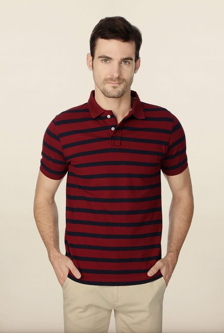 Peter England Maroon & Navy Striped Polo T-Shirt