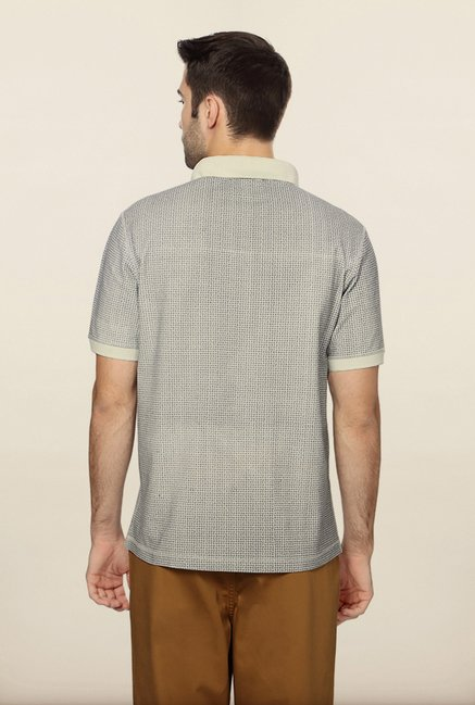 Peter England Grey Printed Polo T-Shirt